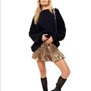 🆕🌈Free People Metallic Printed Tiered Skirt• NWT